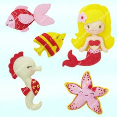 Mermaid and Other Sea Creatures Sewing Pattern - PDF File - Ornament, Embellishment or Soft Toy Tutorial