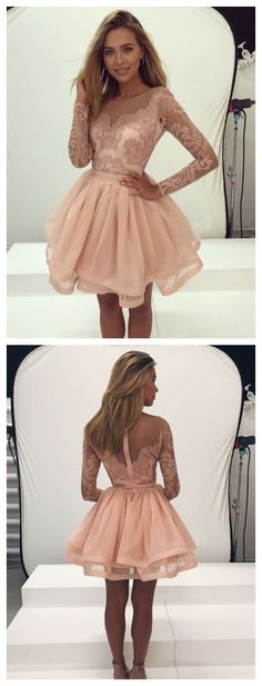 Prom dresses long sleeve pearl pink homecoming dresses,semi formal lace dress for teens,cute tulle short prom dress,ball gown party gowns Cheap Homecoming Dresses, Prom Dresses Long With Sleeves, Prom Dresses 2018, Dress Long, Junior Prom Dresses Short, Short Evening Dresses, Winter Ball Dresses, Homecoming Outfits, Long Sleeve Short Dress
