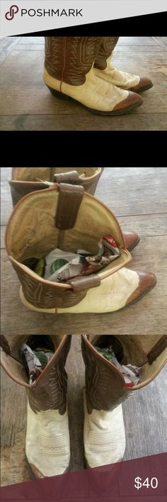 Tony Lama cowboy boots Vintage cowboy boots. Leather. Colors - brown & cream. Size 8. Tony Lama Shoes Heeled Boots