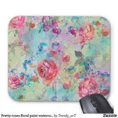Shop Pretty roses floral paint watercolors design mouse pad created by Trendy_arT. Pretty Roses, Custom Mouse Pads, Watercolor Design, Marketing Materials, Watercolors, Looks Great, Floral Design, Mousepad, Create