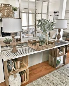 Easy DIY console table Bless this nest entrance area table hanging window decor . Easy DIY console table Bless this nest entrance area table hanging window decoration … – – Sweet Home, Diy Casa, Home Living Room, Diy Living Room Furniture, Farmhouse Bedroom Furniture, Diy Living Room Decor, Coastal Living Rooms, Living Room Without Fireplace, Living Room Country