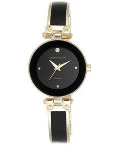 Anne Klein Women's Diamond-Accent Gold-Tone Mixed Metal Bangle Bracelet Watch 28mm Ak/1980BKGB