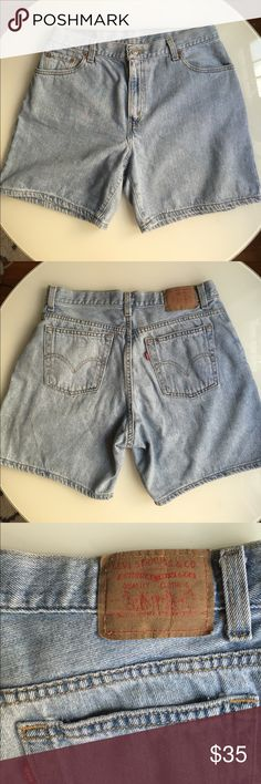SALE! Levi's Vintage Mom Shorts Light wash vintage Levi's shorts! These are the perfect mom look cut. Waist measures 15.5 inches - so will fit sizes 30-32. 11 inch high rise. 6 inch inseam. All offers considered! Levi's Shorts