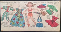 "This one is of a young girl named Ilene at Cap Cod. These paper doll sections usually measured around 14"" x 8 1/2"". This one is dated 1953 and is in good condition with just the date written on it at the bottom and a little corner wear and a couple light folds. 