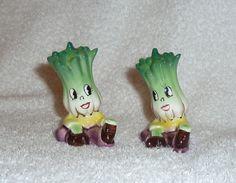 Vintage PY Anthropomorphic Celery Cabbage Smiling Veggie Holt Howard Salt and Pepper Shakers Napco 19050s