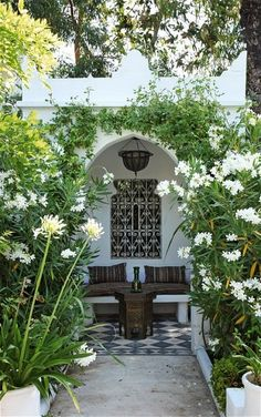 Interior designer Frédéric Méchiche's 19th-century Moorish garden, what a beautiful area for sitting and relaxing.