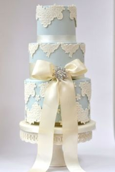 Powder blue & cream cake....lace motif is a little too heave...should be piped instead of raised