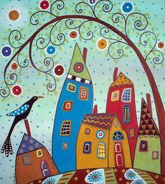Swirl Tree Bird & Houses by Karla Gerard - zentangle folk art. Karla Gerard, Art Fantaisiste, Art Populaire, House Quilts, Inspiration Art, Bird Tree, Naive Art, Whimsical Art, Doodle Art