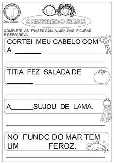Atividades com frases Portuguese Lessons, Reiki, Professor, Classroom, Education, School, Alice, Tops, Letter E Activities
