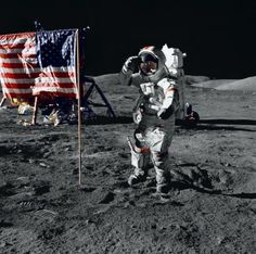 Putting the flag on the moon