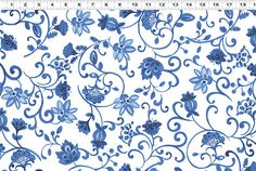 Rhapsody Blue and White Vine Toss fabric by by fabric2goStudio
