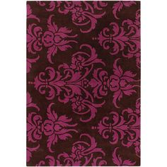Add a touch of elegance to your home decor with a wool rug  Hand-tufted area rug offers a gorgeous damask pattern  Transitional floor rug features shades of brown and dark pink