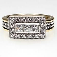Estate Princess Cut Diamond Engagement Ring with Cable Accents