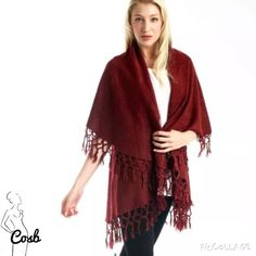 Cute Cream Color Wrap w/Fringes Boho Wrap with Fringes. Wraps can be worn 4 different ways. Perfect accent piece. Have Cream Color ONLY! Look C Jackets & Coats