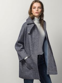 MASSIMO DUTTI  -   TEXTURED COAT WITH KIMONO SLEEVES