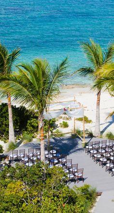 Setting the stage for a beachfront wedding in Motherhouse villa, Turks and Caicos. #privatevilla #destinationwedding