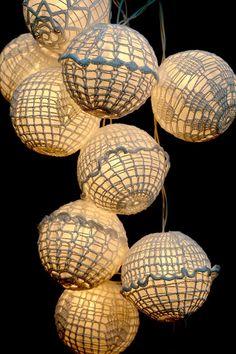 crochet-covered Chinese lanterns