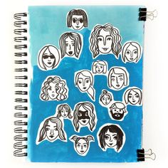 Faces drawn with a brush pen for the #dailysketchbookgroup and #12monthsofpaint. Background painted with gouache.