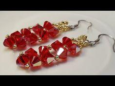 Beaded Earrings Patterns, Seed Bead Earrings, Jewelry Patterns, Beading Patterns, Bead Jewellery, Crystal Jewelry, Gemstone Jewelry, Beaded Jewelry, Beaded Bracelets