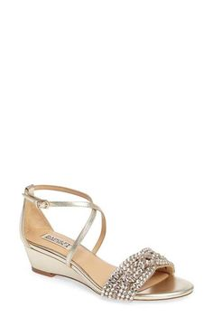 Badgley Mischka Badgley Mischka Tressa Embellished Wedge Sandal (Women) available at Wedge Wedding Shoes, Bridal Wedding Shoes, Bridal Sandals, Wedding Attire, Bride Shoes, Prom Shoes, Silver Shoes Low Heel, Bridesmaid Shoes, Pretty Shoes