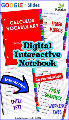 Calculus Vocabulary Interactive Digital Notebook GOOGLE edition
