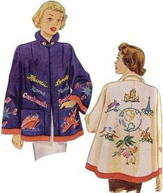 McCall 1565 from 1950 embroidered coat Fashion Fabric, Suit Fashion, Kids Fashion, Vintage Outfits, Vintage Fashion, Mexican Fashion, Dress Making Patterns, Vintage Coat, Vintage Sewing Patterns