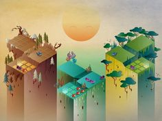 An early version of the Beasts of Balance world was based around isometric design