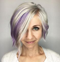 Asymmetrical bob with purple peekaboo