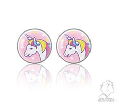 Studex unicorn studs — for ear piercing with Studex or as regular (non-piercing) studs from the Sensitive by Studex collection. Hypoallergenic and skin friendly, surgical stainless steel. Unicorn Jewelry, Ear Piercings, Smurfs, Stainless Steel, Diy, Fictional Characters, Collection, The Creation, Decorations