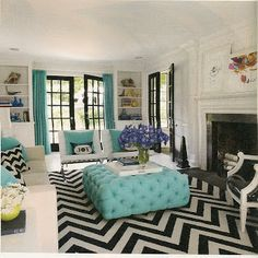 turquoise, black & white living room