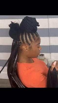 Pin discovery for more pins braids africanas black woman rocking amazing cornrows with a tribal twist love it get inspired visit bisbihair com for hair extensions and hair inspiration blackwoman cornrows haircrush Feed In Braids Hairstyles, Braided Hairstyles For Black Women, Braided Ponytail Hairstyles, Girl Hairstyles, Feed Braids, Braids Cornrows, Ghana Braids, 2 Big Braids, Corn Row Braids