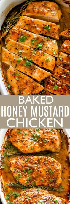 Baked Honey Mustard Chicken - The classic combination of honey and mustard smothered all over tender chicken breasts and baked to a succulent perfection. A wonderful throw-together baked chicken dinner that& really easy to make and it& healthy! Baked Chicken Recipes, Beef Recipes, Cooking Recipes, Healthy Recipes, Healthy Desserts, Healthy Baked Chicken, Recipe Chicken, Best Baked Chicken Recipe Ever, Health Chicken Dinners