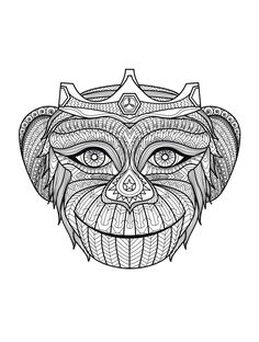 Free coloring page coloring-adult-africa-monkey-head. Funny monkey (but complex coloring page !)