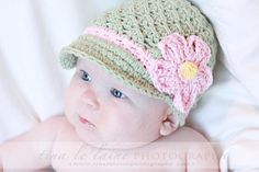 Crochet Hat Pattern Baby Crochet Hat Daisy Visor Beanie PDF 150 Newborn to Adult  Photo Prop Permission to Sell Hat. $4.99, via Etsy.