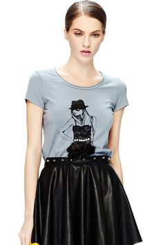 ROMWE   Dual-tone Girl Print Light Blue T-shirt, The Latest Street Fashion #ROMWE
