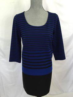 Love the blue stripes? Ann Taylor Blue Black Striped Tunic Dress Medium M 6-8 Womens Career Polyester #AnnTaylor #Tunic #WeartoWork