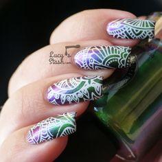 White Mehndi Stamping Nail Art Over Multichrome Gradient