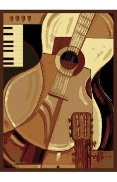 United Weavers Legends Area Rug Guitar Black Guitar Music x Rectangle Home Music Rooms, America Furniture, Kids Area Rugs, Scale Design, Guitar Design, Rugs Usa, Neutral Colour Palette, Beige, Contemporary Rugs