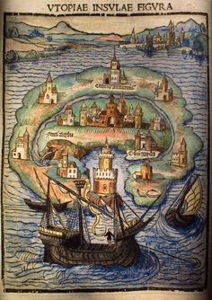 """ Hand-tinted map of the Island of Utopia from A Fruitful and Pleasant Work of the Best State of a Public Weal, and of the New Isle Called Utopia by Thomas Moore, 1516 """