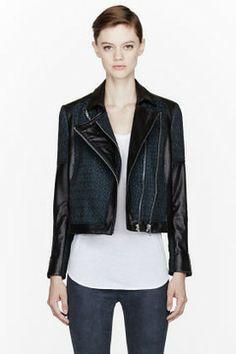 HELMUT LANG Green crosshatched Leather Biker Jacket on shopstyle.com