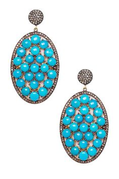Diamond Pave Turquoise Oval Drop Earrings