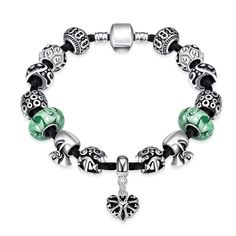 Green Crystal With Heart Stone Bracelets For Women Silver Beads Bracelets & Bangles Diy Jewelry
