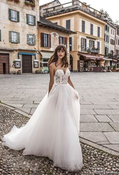 pinella passaro 2018 bridal strapless sweetheart neckline heavily embellished bodice tulle skirt romantic a line wedding dress chapel train (2) mv -- Pinella Passaro 2018 Wedding Dresses