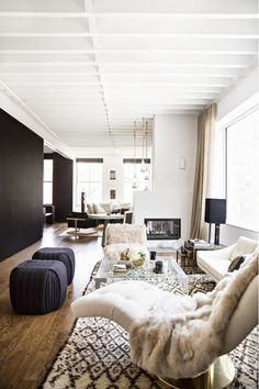 Living space with furry textures on a rug, chair-draped blanket, and lounge chair.