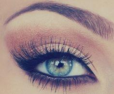natural- Carmel brown on top lid---mascara---winged eyeliner---highlight in corner---brown thick eyeliner under eye #blue