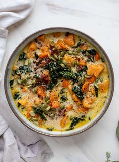 This sweet potato chowder is a hug in a bowl! Made with lots of greens and crunchy pancetta and pepitas for topping it's a perfect weeknight meal. The post Sweet Potato Chowder appeared first on Tasty Recipes. Sweet Potato Chowder Recipe, Sweet Potato Meals, Pumpkin Sweet Potato Soup, Vegan Sweet Potato Recipes, Sweet Potato Dinner, Loaded Sweet Potato, Healthy Meals, Healthy Recipes, Healthy Food
