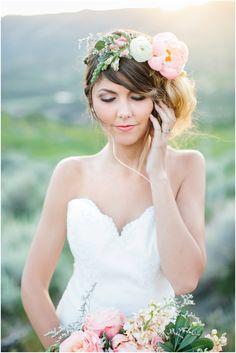45_close up portrait of bride wind blown hair glowy skin and flower crown