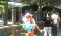 hubby dip after feeding the elephants.  Pahang, Malaysia