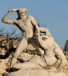 This is a statue of Theseus Slaying the Minotaur located in the Jardin des Tuileries in Paris, France. The myth reads that seven Athenian boys and girls were to be sent to the island Crete and faced with a labyrinth when a minotaur lived. Theseus is one of the boys famous for killing the minotaur and escaping the labyrinth. Its representation demonstrates the Parisian culture's respect for classical tales.