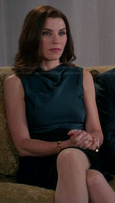 Alicia's green and black cowl neck dress on The Good Wife